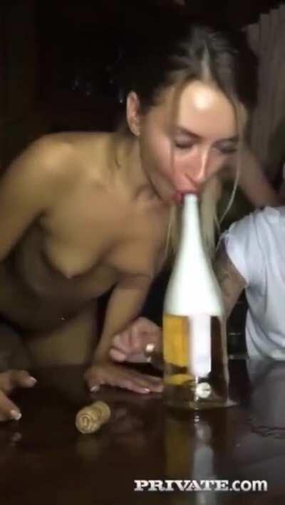 Pornstar Katrin Tequila Made The Bottle Experience An Orgasm! Drunk At The Party