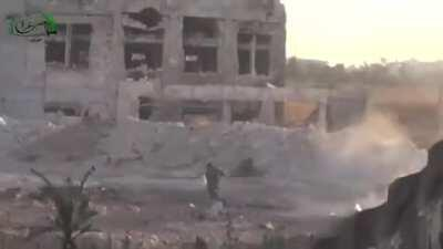 Free Syrian army shoot and kill fleeing SAA fighters. Aleppo, Syria. NSFW