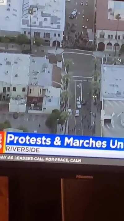 News Chopper Pans Out As Riverside County Sheriff Smashes Car Window For No Reason At Peaceful BLM Protest