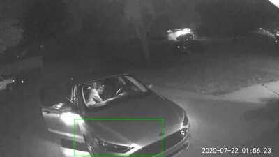 Wyze caught someone breaking into my car.