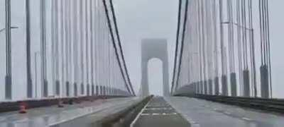 Verrazano Bridge in Brooklyn, NY Swaying in High Winds SOUND ON