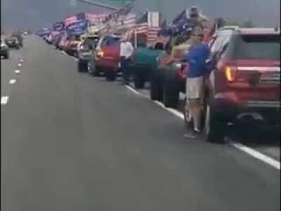 In Arizona, on October 25th, 2020, the longest 'Trump Train' ever recorded happened. It measured 96 miles in length, over 10,000 vehicles adorned in Trump flags, American flags, and other Trump gear.