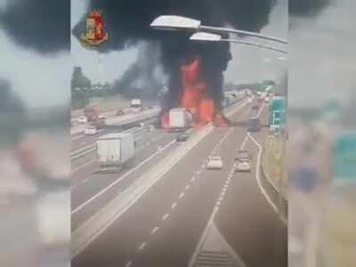 Bologna, Italy. two trucks collide on the A14 highway, causing an explosion and killing the 2 truck drivers. 6/8/2018