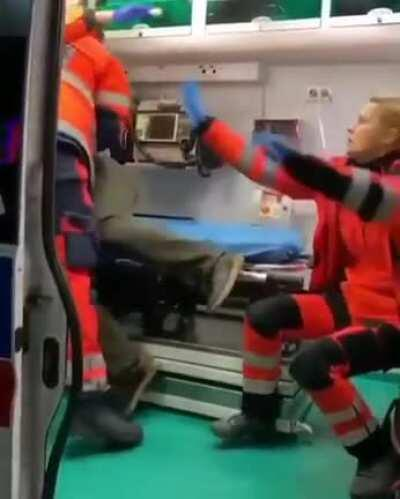 Wcgw when you try to attack paramedics in ambulance