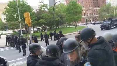 Two Buffalo Police officers shove a old man to the ground in front of City Hall. Blood. NSFL