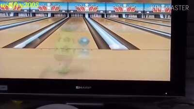 Kid screaming after a strike in the game