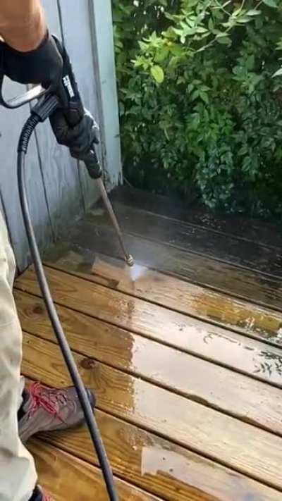 Slow-mo powerwashing deck action