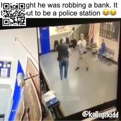 Man tries to rob police station.