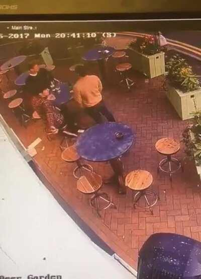 Someone tried to throw a rock through a Beer Garden window