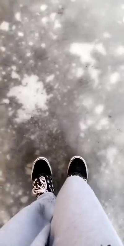 Perfectly cut ice walk