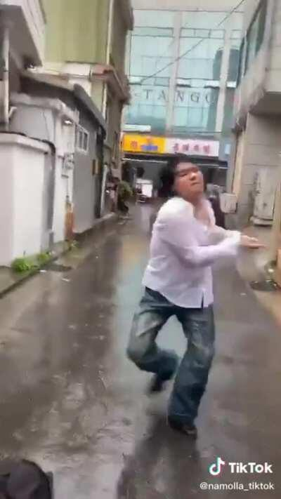 Thrown out of his home during a torrential storm