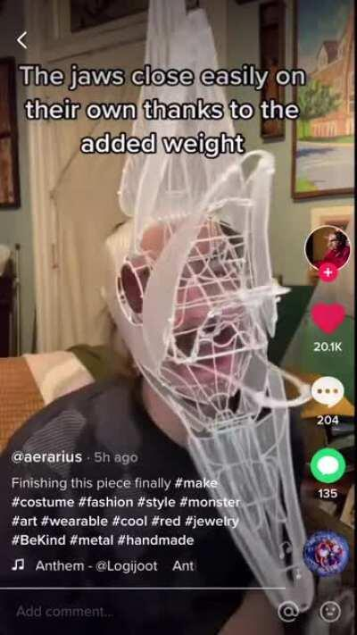 This wire mechanical mask made by aerarius (tick tock)