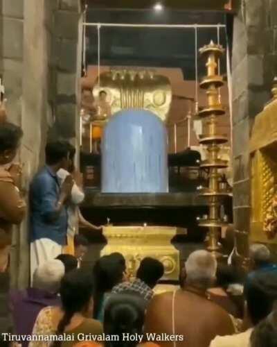 Abhishekam at Brihadeeshwara temple in Tamil Nadu. 11th century Chola 63 metre granite Shiva linga