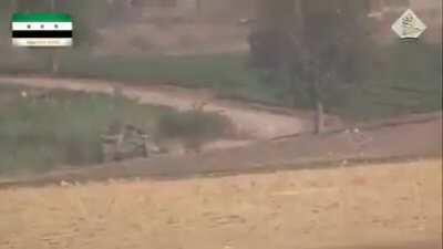 "Famous Syrian rebel ""Abu TOW"" knocks out a SAA tank. East Aleppo, Syria 2015"
