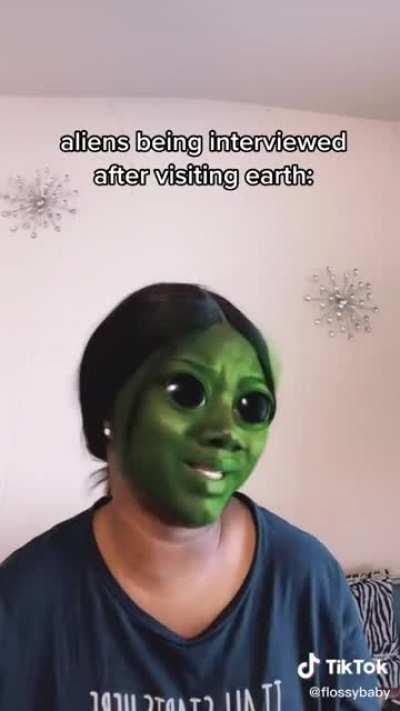 Aliens after visiting earth