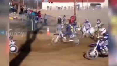 That biker's reaction is gold!