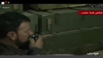 SAA shows rare display of coordination during ambush which destroyed ISIS convoy, Allepo Syria, probably 2014-2015.