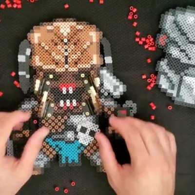 Predator made of perler beads with removable helmet and moving mandibles! FB and IG @pixelhotpr
