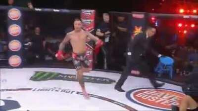 (Professional) Fighter recognizes his opponent is unconscious before the ref and refuses to ground and pound him.