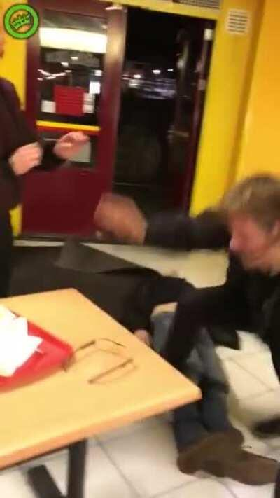 People freaking out in Dutch fast food restaurant.