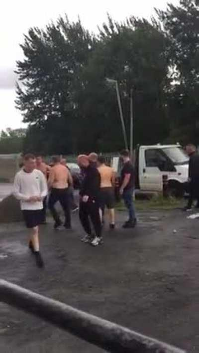 U.K. pikeys having a 'fair fight' in doncaster