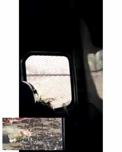 Footage inside a riot police transport while being attacked by rioters