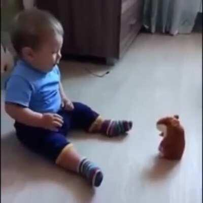Baby scared of talking hamster toy