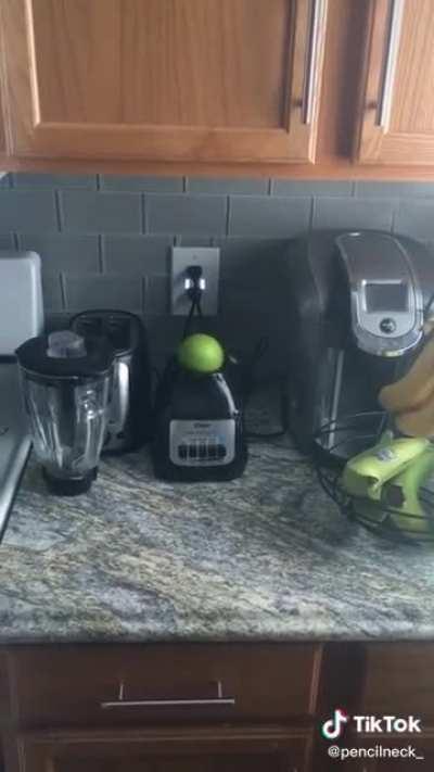 spinning an apple on a blender