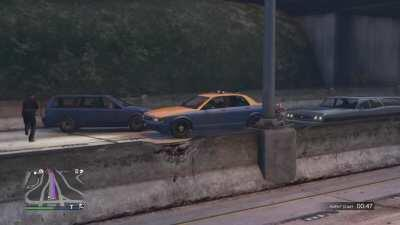 I was taking a cab back from Sandy Shores online because I was eating Taco Bell and had my meal interrupted. Almost spit my Cheesy Gordita Crunch all over the room laughing lol
