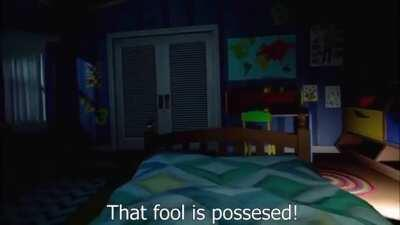 A demonic clown in a VR horror game.
