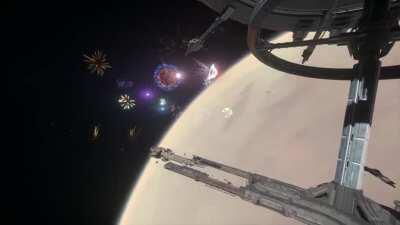 UEE Invictus fleet arrival with fireworks in 2K