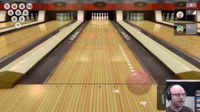 Playing a bowling game at your desk