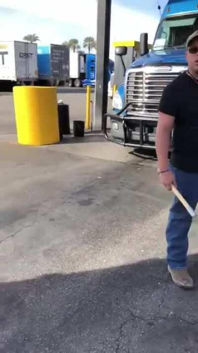 Trucker Tries To Intimidate Another Trucker With A Tire Thumper And Lets Everyone Know He's American