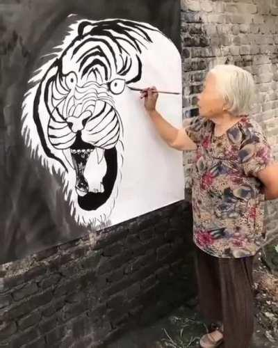 Wall painting a tiger
