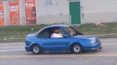 Miniature car driving around