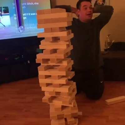 Playing Jenga in front of a TV