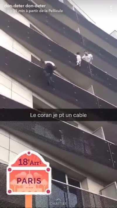 Guy sees baby dangling from high rise building & switches on his super powers, scaling the building balcony by balcony with total disregard for his own safety. He was an illegal immigrant living in France but after this he was given instant citizenshi