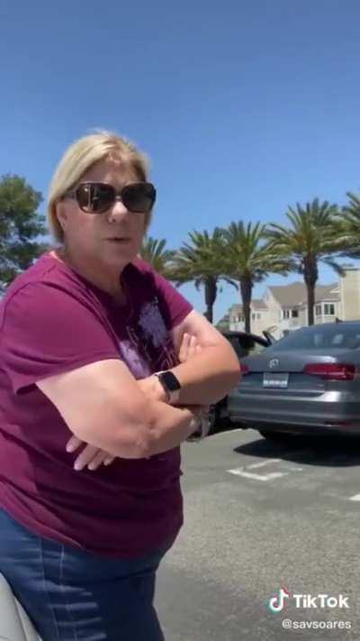 Another Karen blocking a parking spot...