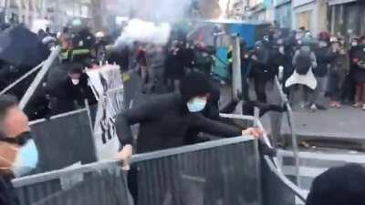 Compilation of today protests in Paris against the Global Security bill - The new article would amend current legislation to make it an offense to show the face or identity of any officer on duty