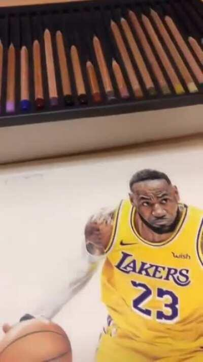 200+ hours drawing of this picture of LeBron James