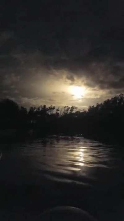 A view of the rocket launch from kayaks in the nearby water