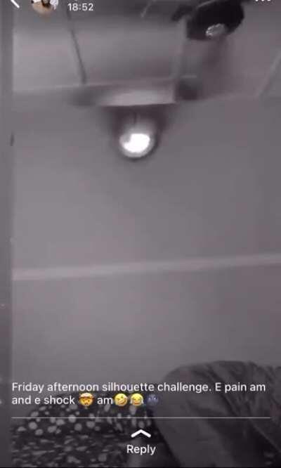 WCGW: Trying The Silhouette Challenge With The Ceiling Fan Turned On.