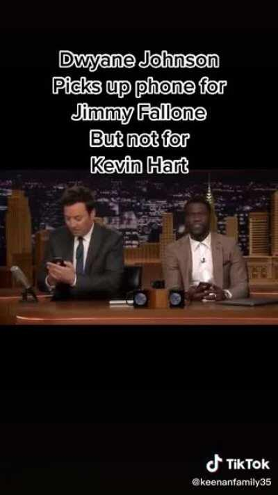 Dwayne Johnson picks up call from Jimmy Fallon but not Kevin Hart