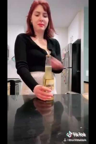 WCGW trying a cool way to open a bottle of beer