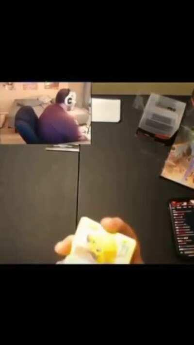 This guy packing a rare pokemon card, but due to the crease it's pretty much worthless now.