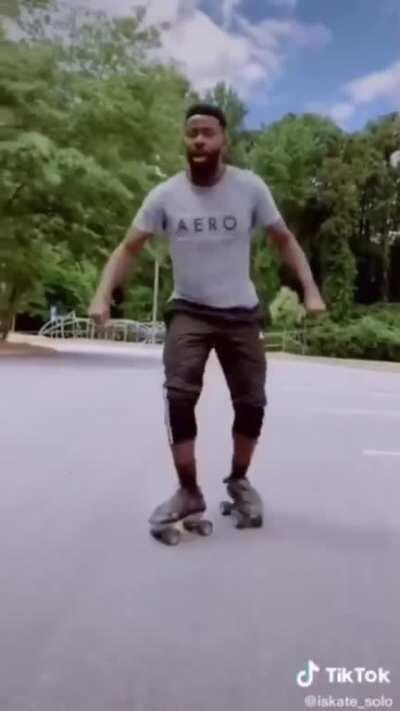 He really got some amazing moves with those skates