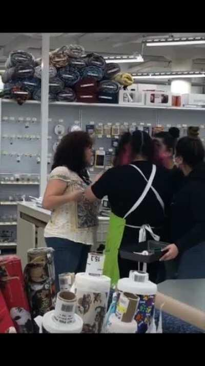 """Karen gets thrown out of a store while screaming """"God Bless America"""""""