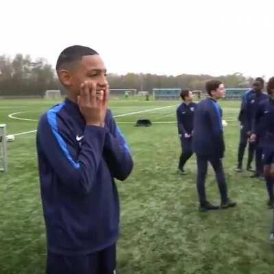Nutmegging the entire squad. Wholesome reactions.