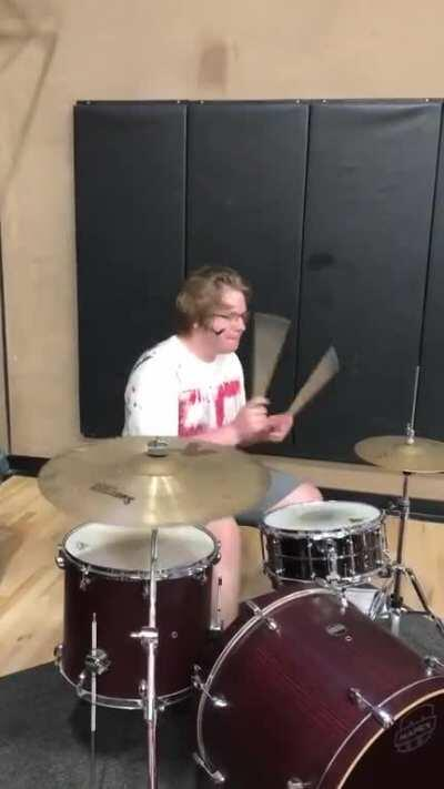 Some legend drummed the pornhub intro at my scho- AAAA