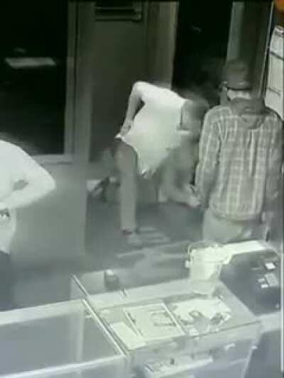 Man physically ejected from a strip club comes back, pulls gun, GETS DROPPED!!